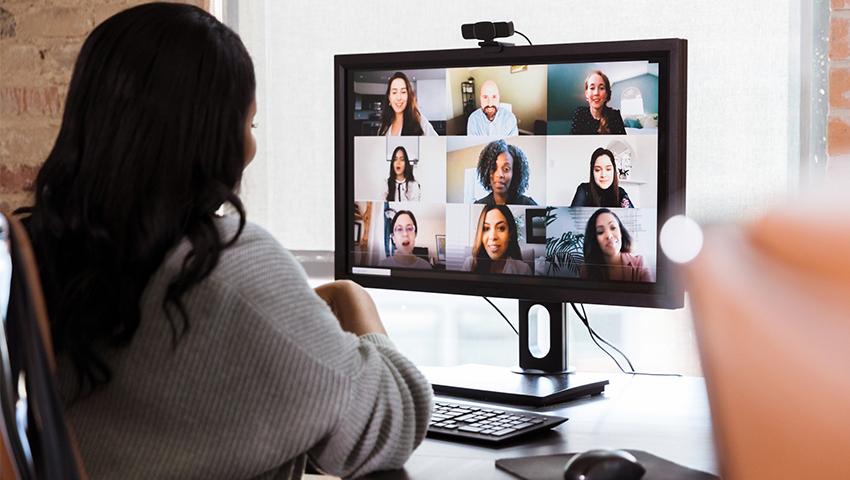 woman in a virtual meeting